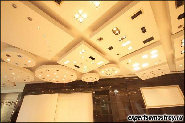 Едноетажен таван от гипсокартон върху метална рамка